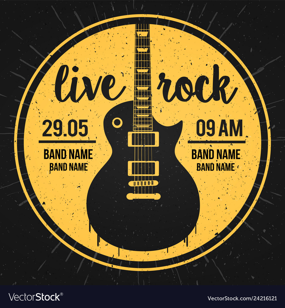Poster for a live rock music festival with guitar