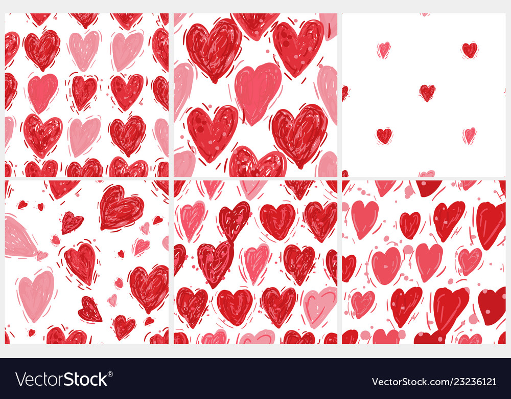 Seamless pattern set with hearts valentines day