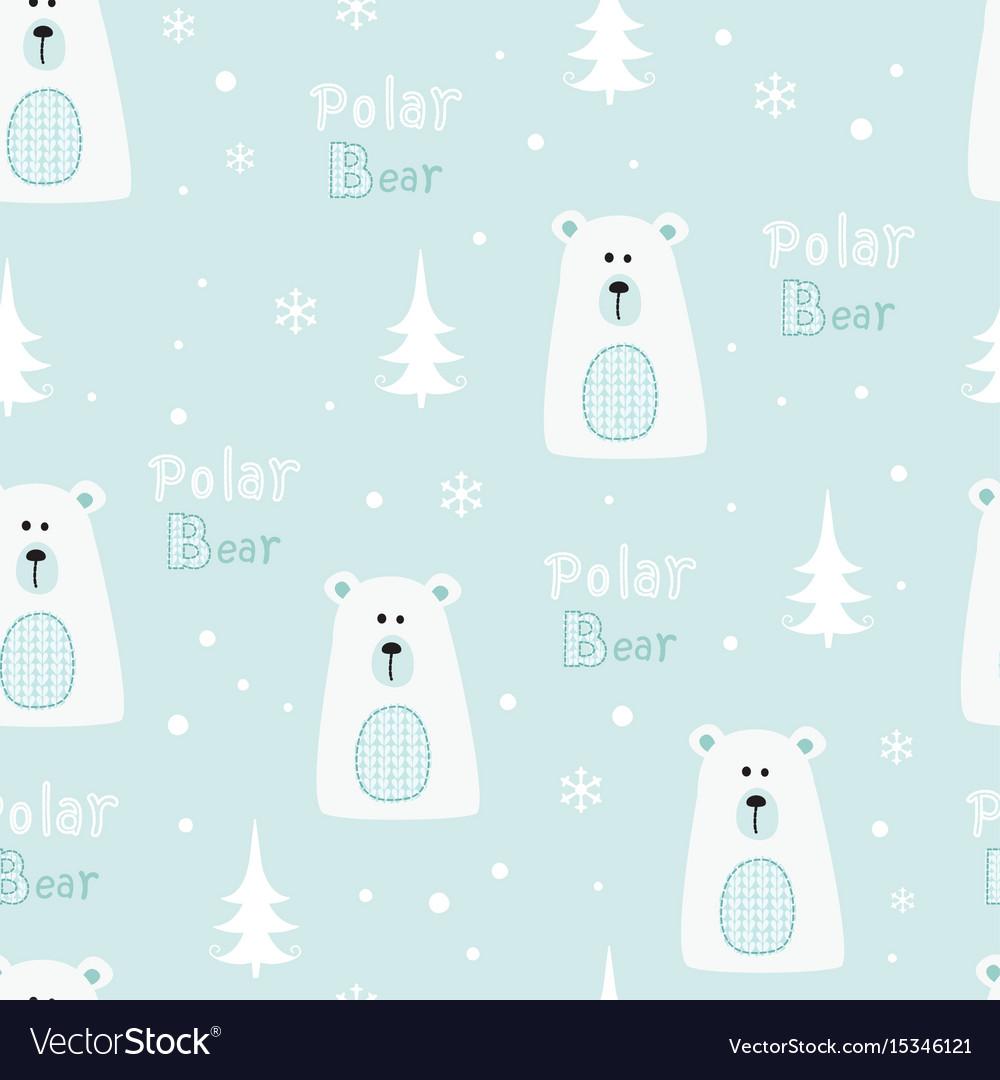Seamless pattern with polar bears