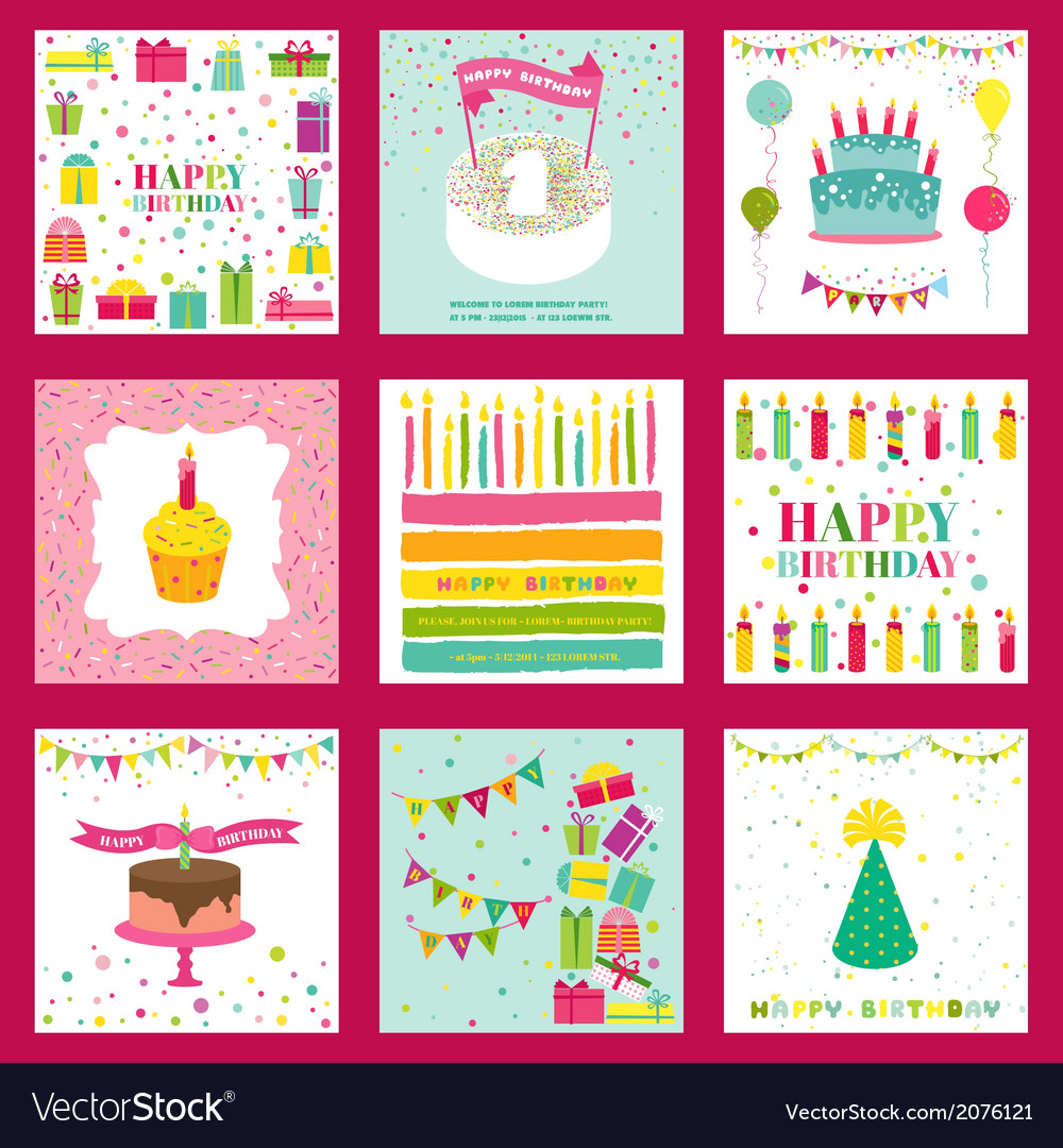 Set Of Happy Birthday And Party Invitation Card