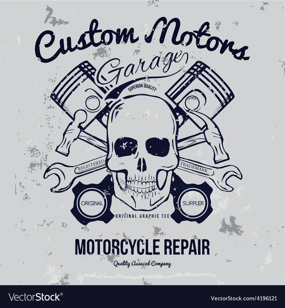 Skull and Pistons t-shirt graphic