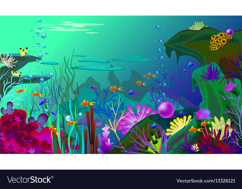 Undersea world with fish different