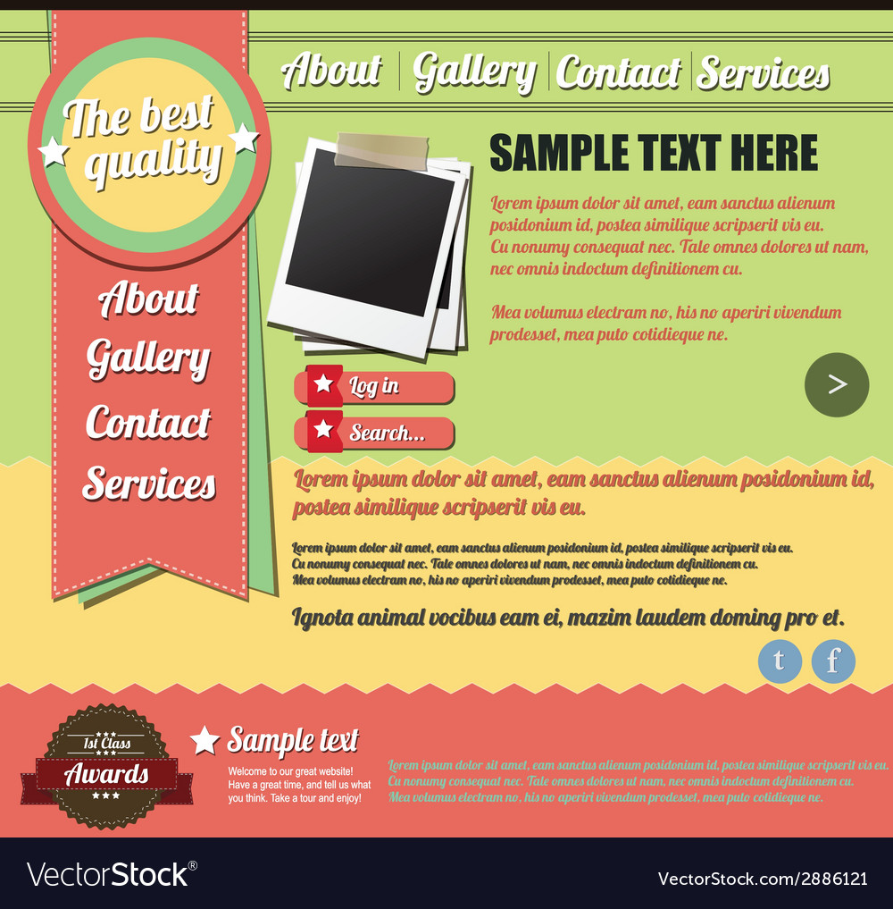 website template elements vintage style royalty free vector
