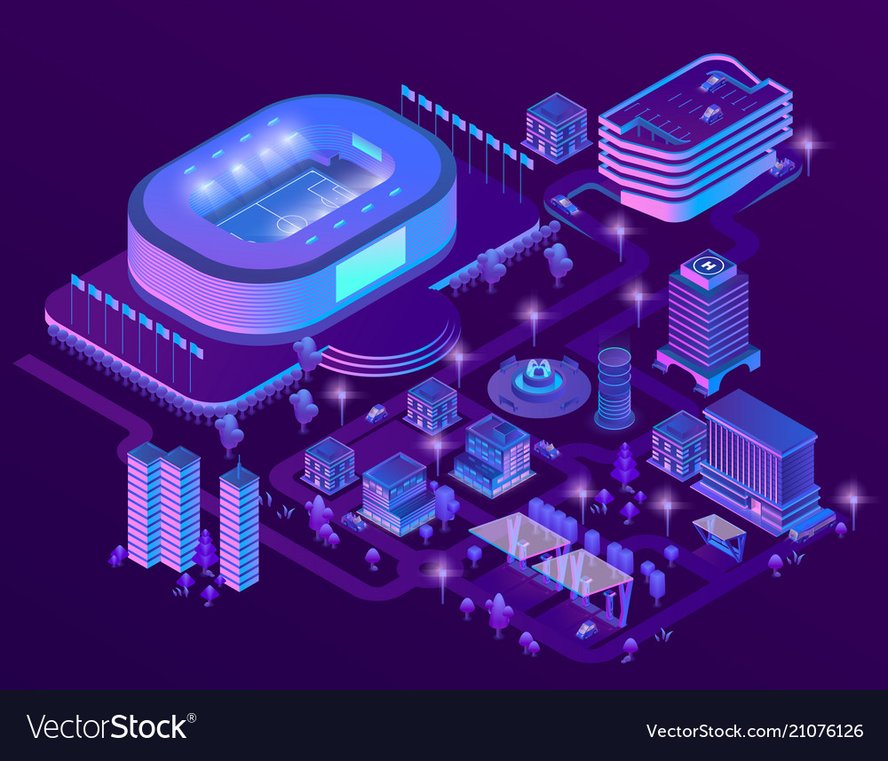 3d isometric ultraviolet megapolis with