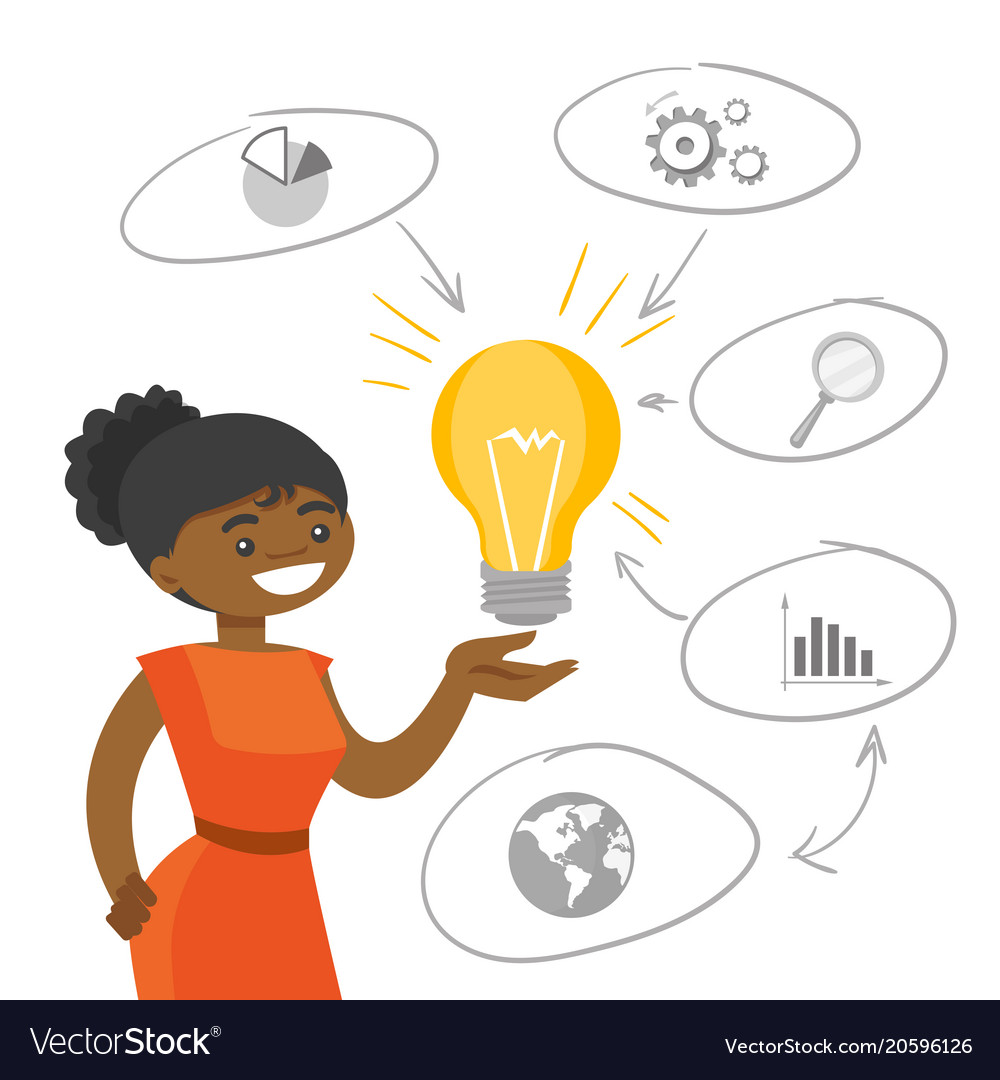 Light bulb bright idea. African student holding a