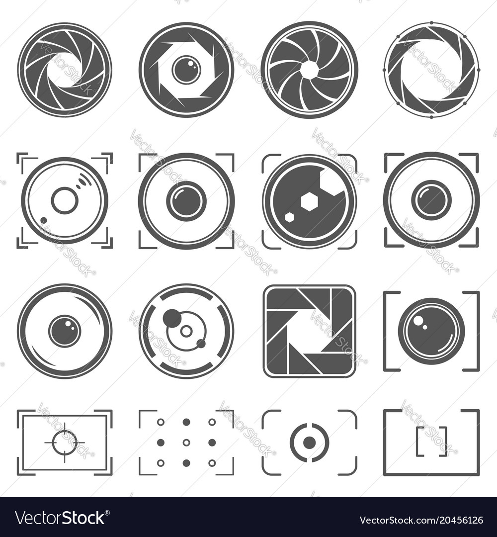 Camera shutter lenses and photo camera elements vector image