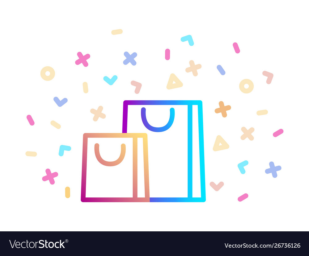 Gift bags surrounded festive decor linear