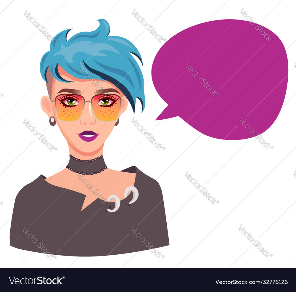 Girl with speech bubble blue haired teenage girl