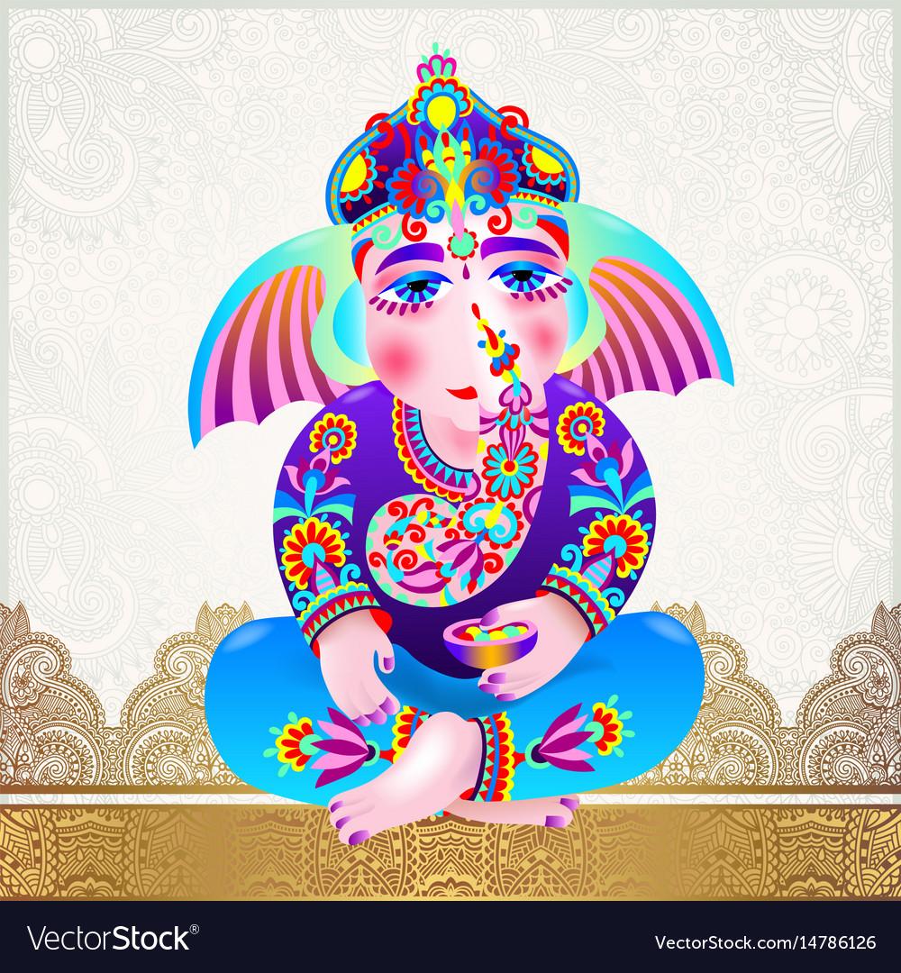 Lord Ganesha On Light Gold Luxury Background Vector Image VectorStock