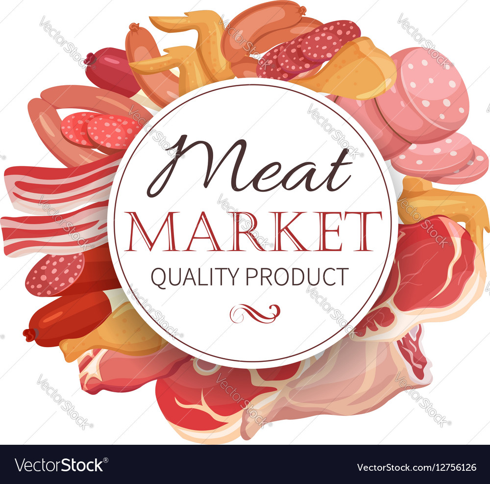 Meat products in cartoon style vector image