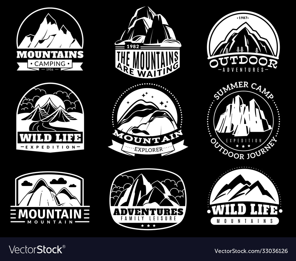 Mountain emblems mountaineering camp and