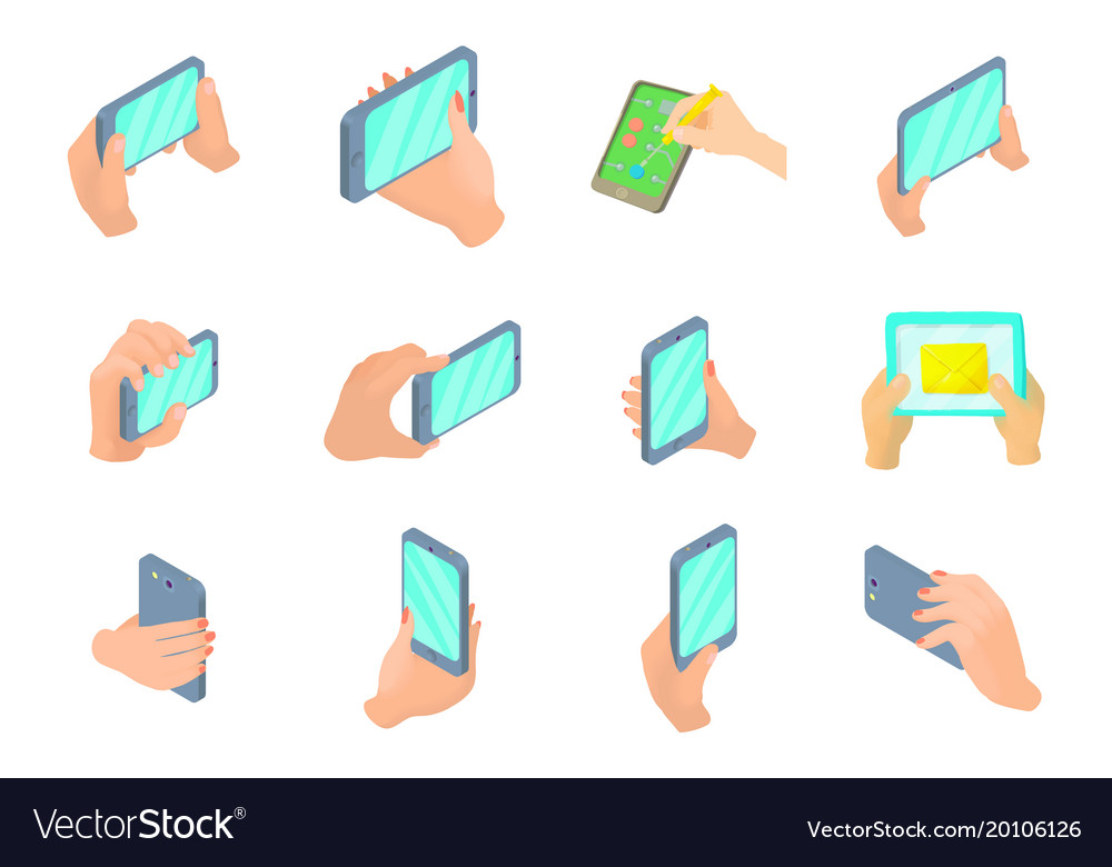 Smartphone in hand icon set cartoon style