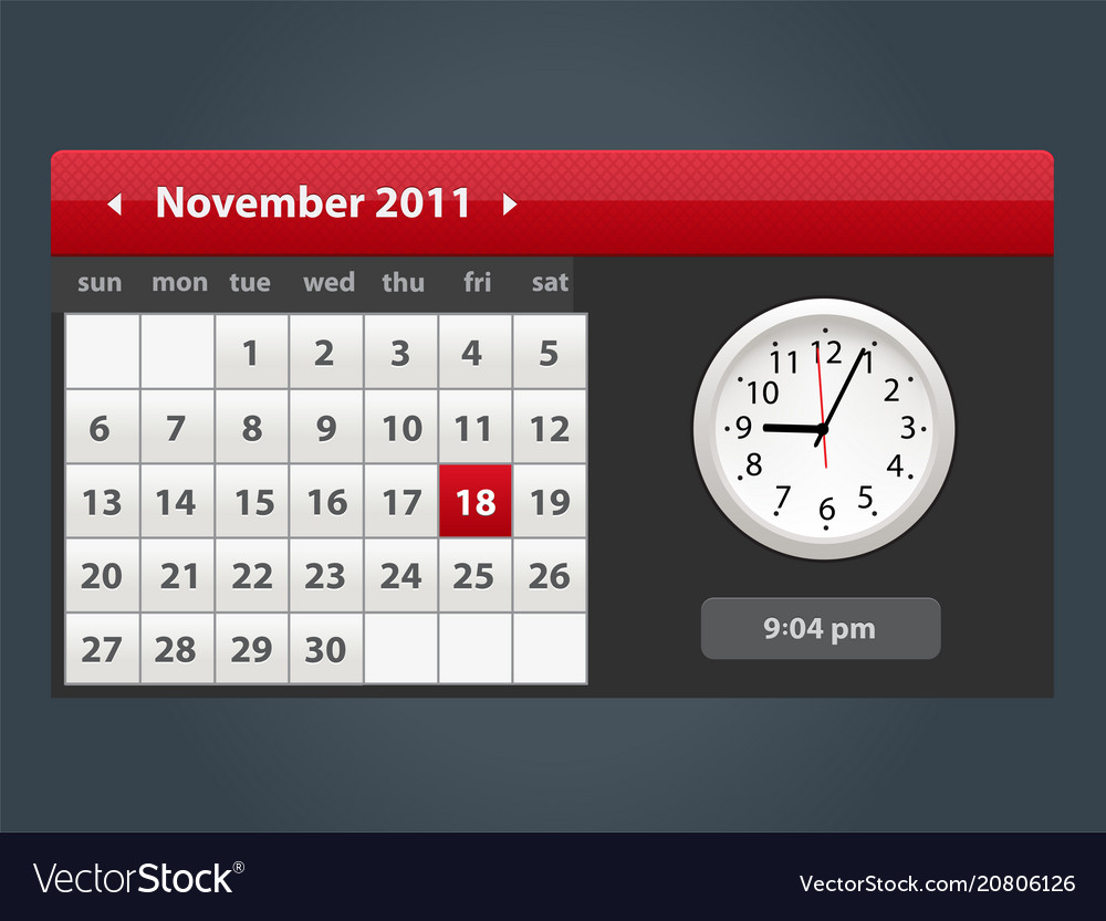 Web and ui calendar with clock icon