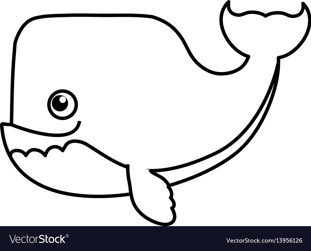 Whale Cartoon Drawing Animal Royalty Free Vector Image