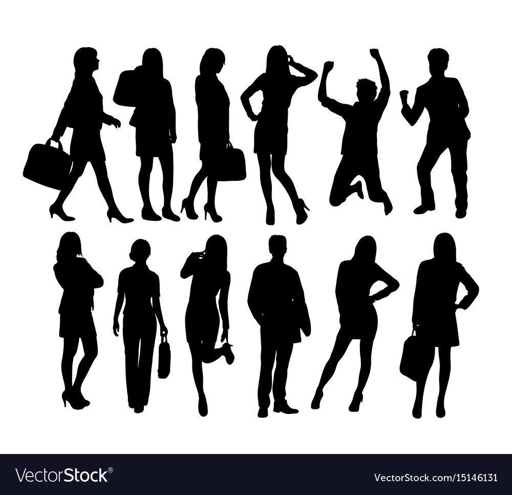 Business people activity silhouettes