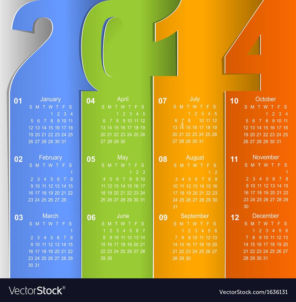 Clean 2014 business wall calendar
