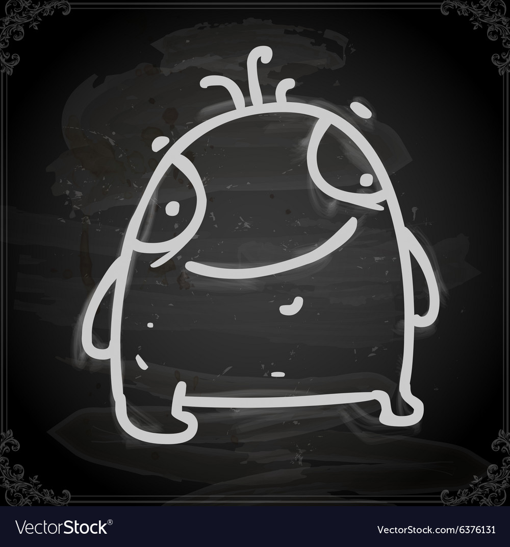 Cute Monster Drawing on Chalk Board vector image