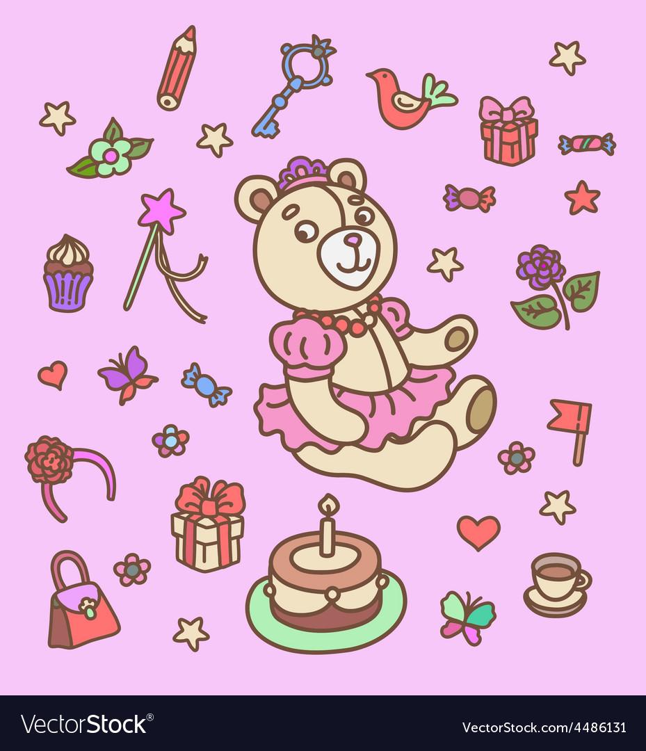 First birthday set vector image