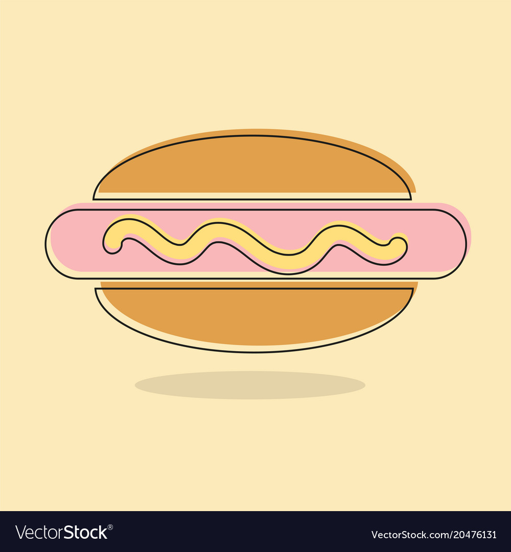 Hot dog cooked sausage sandwich line icon filled