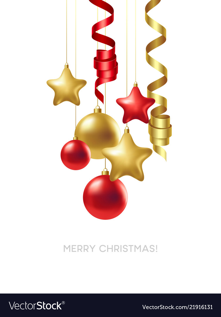 Merry christmas card with gold and red balls
