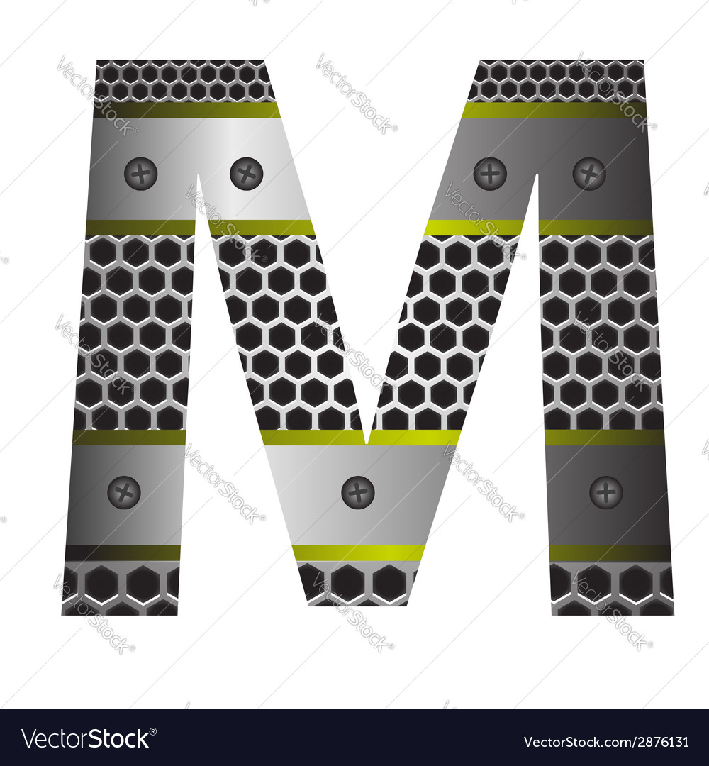 Perforated metal letter M vector image