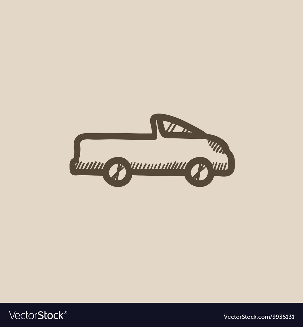 Pick up truck sketch icon