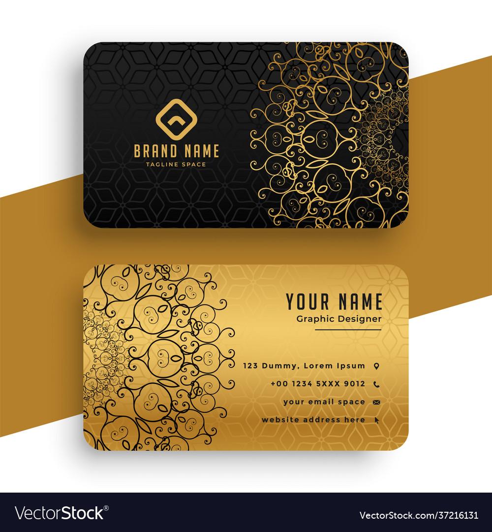 Premium golden mandala business card template