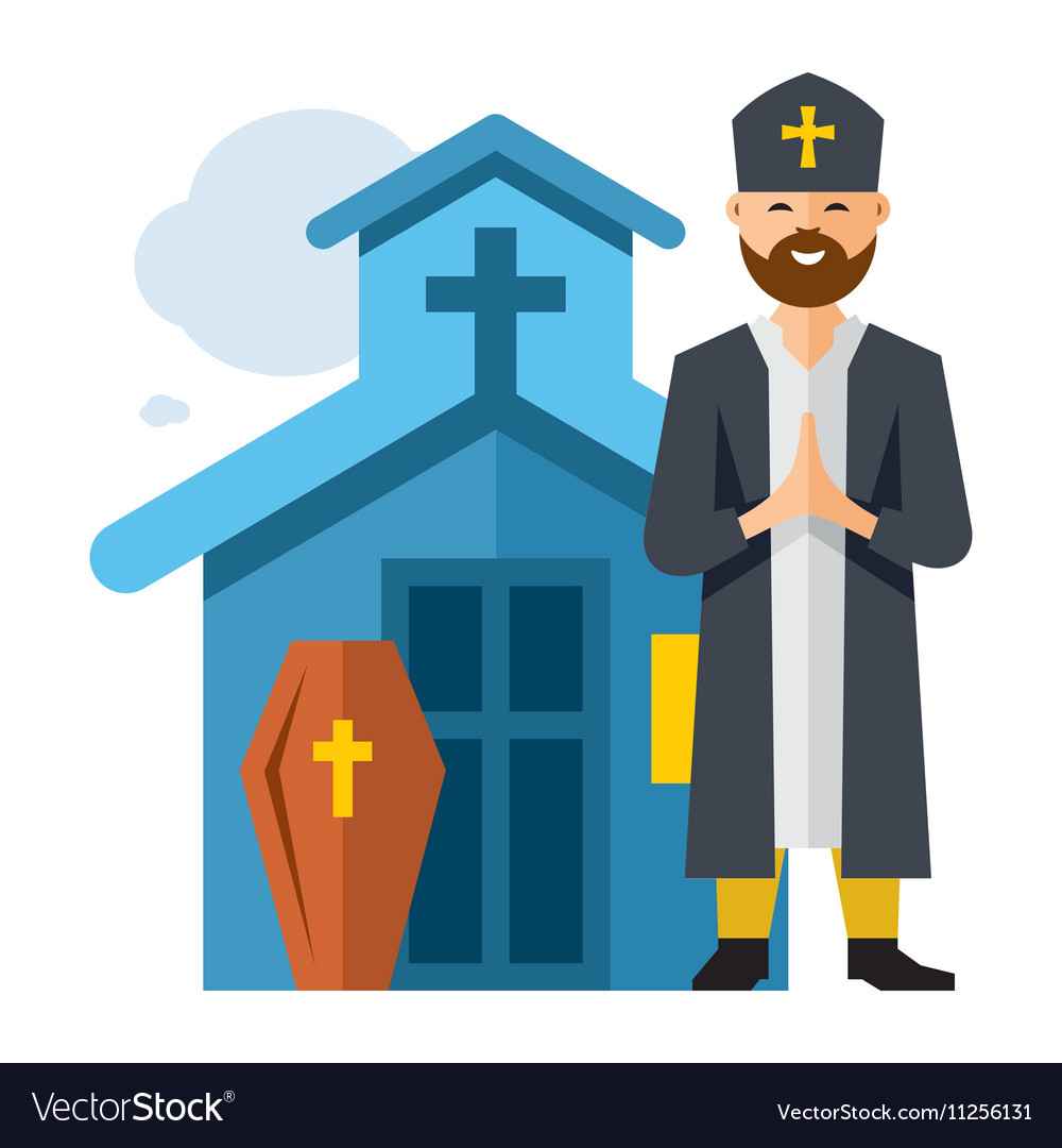 Priest and Church Flat style colorful