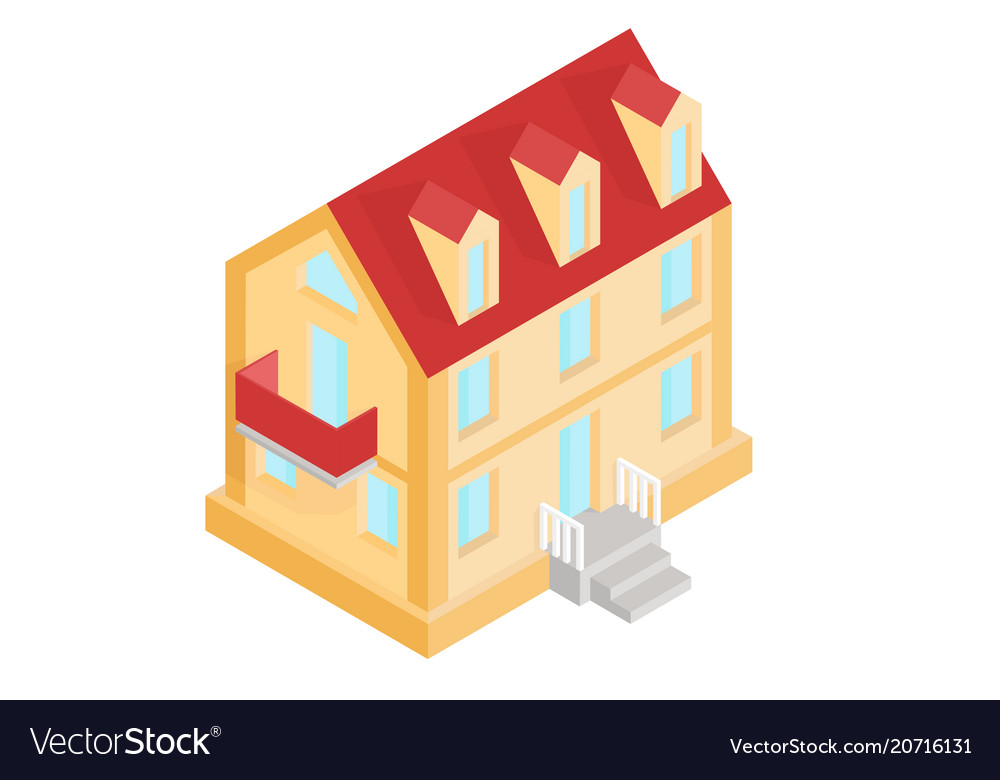 Residential House Colored Isometric Drawing