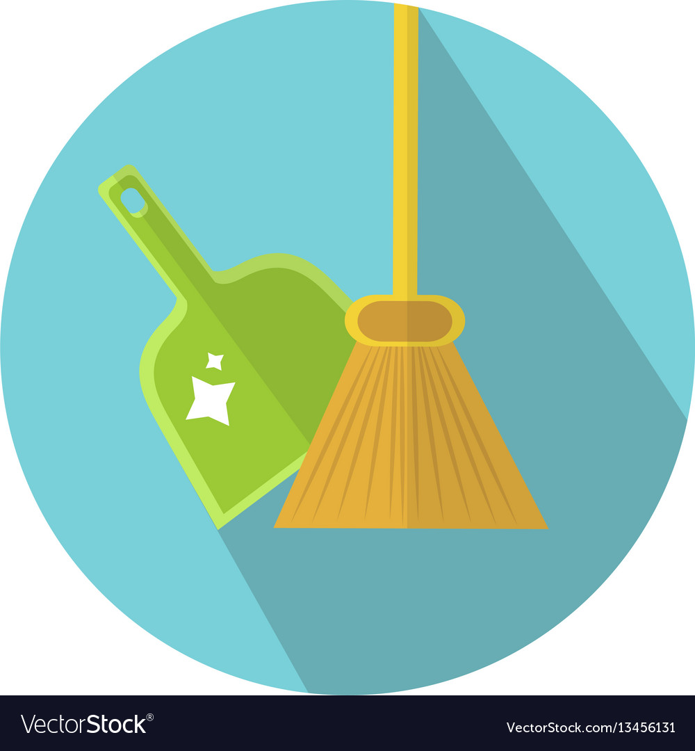 Scoop and broom icon flat style cleaning icon
