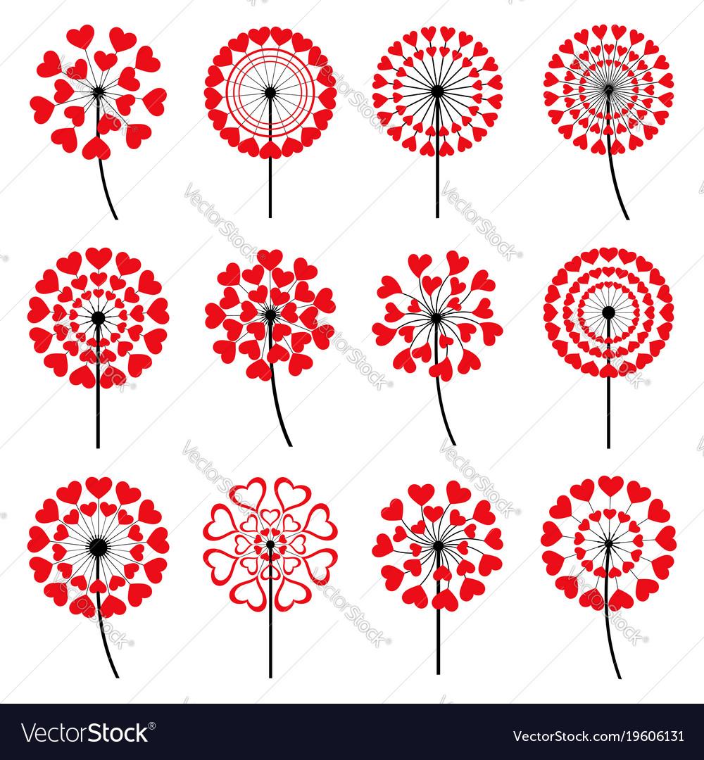 Set of decorative dandelion heart shape