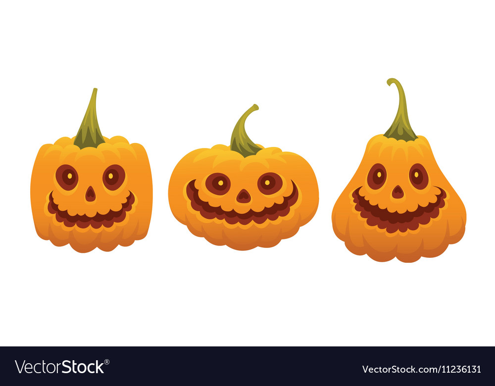 Set of funny pumpkin faces for Halloween vector image