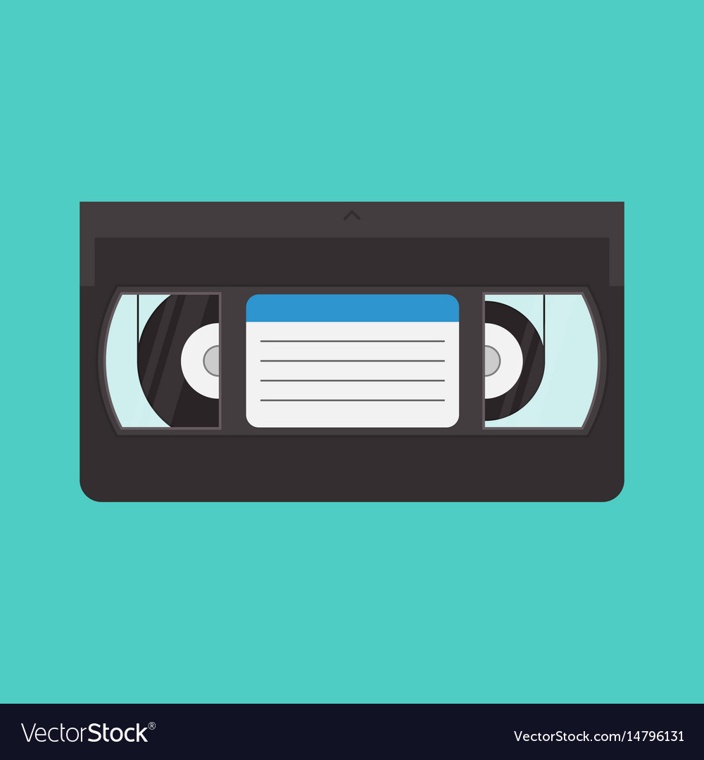 Vhs cassette in a flat style
