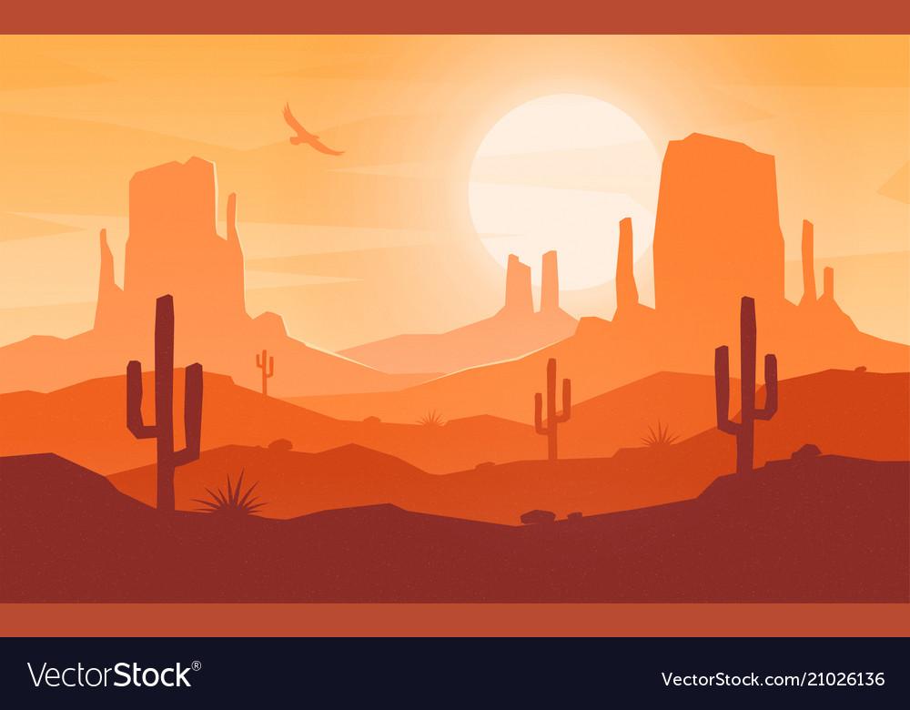 Daytime cartoon flat style desert landscape