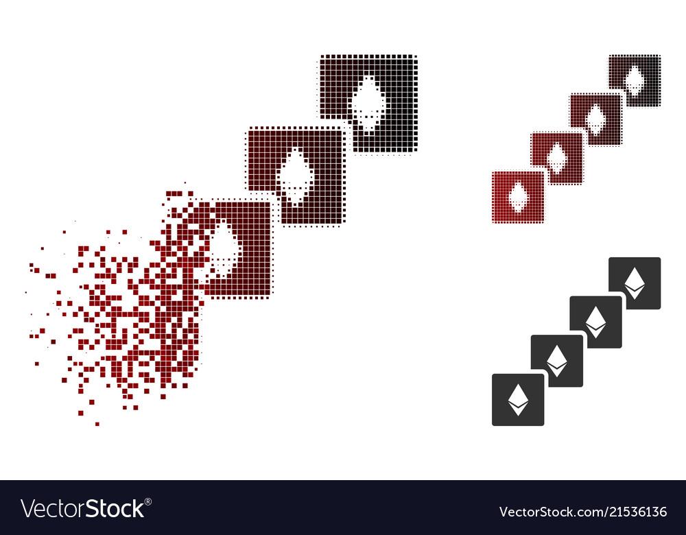 Dissolving Pixel Halftone Ethereum Blockchain Icon Vector Image