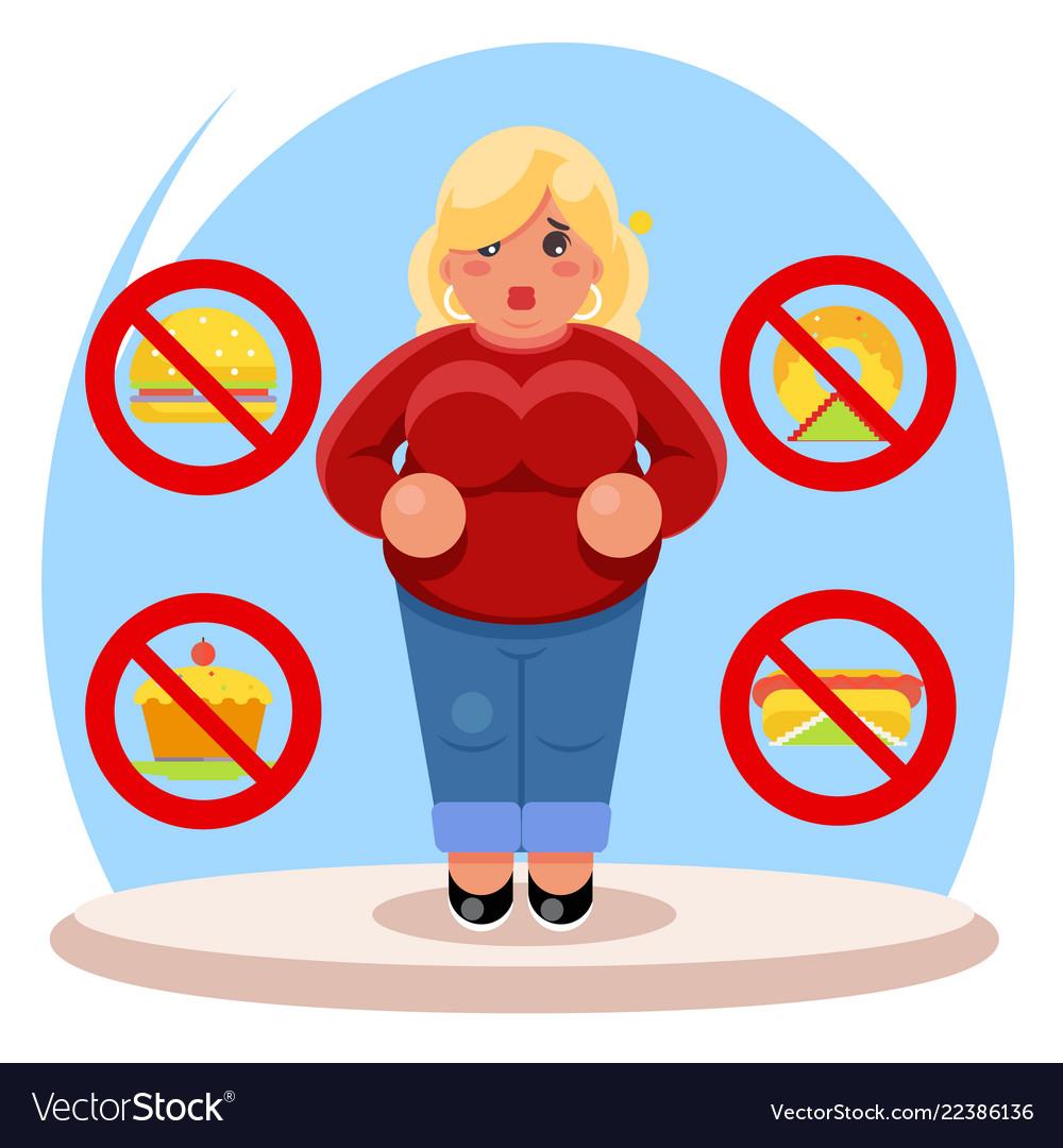 Fat female diet character health refusal junk food