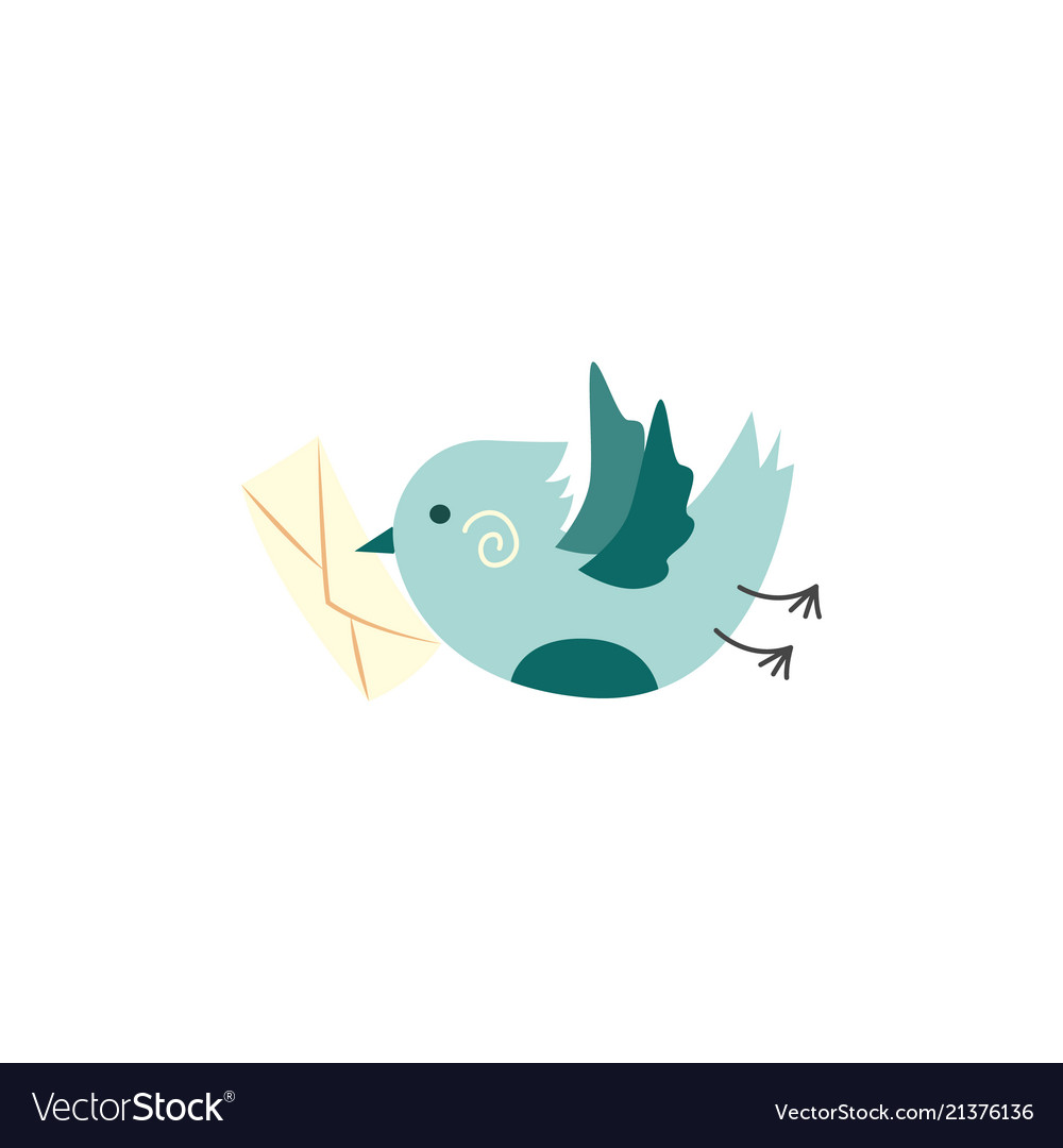Green bird with postal card letter in beak