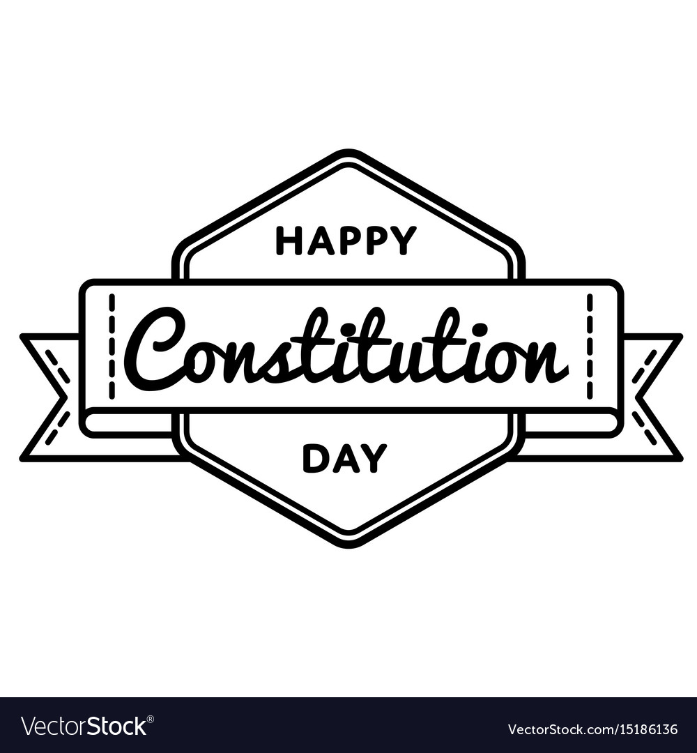 Happy constitution day isolated greeting emblem