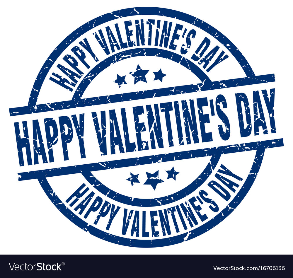Happy valentines day blue round grunge stamp vector image on VectorStock