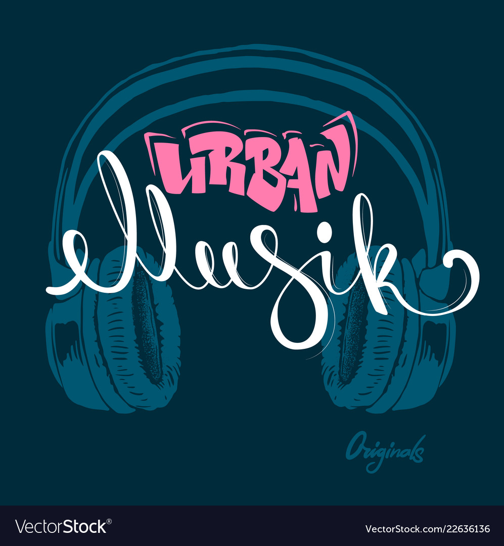 Headphone urban musik hand drawing grunge