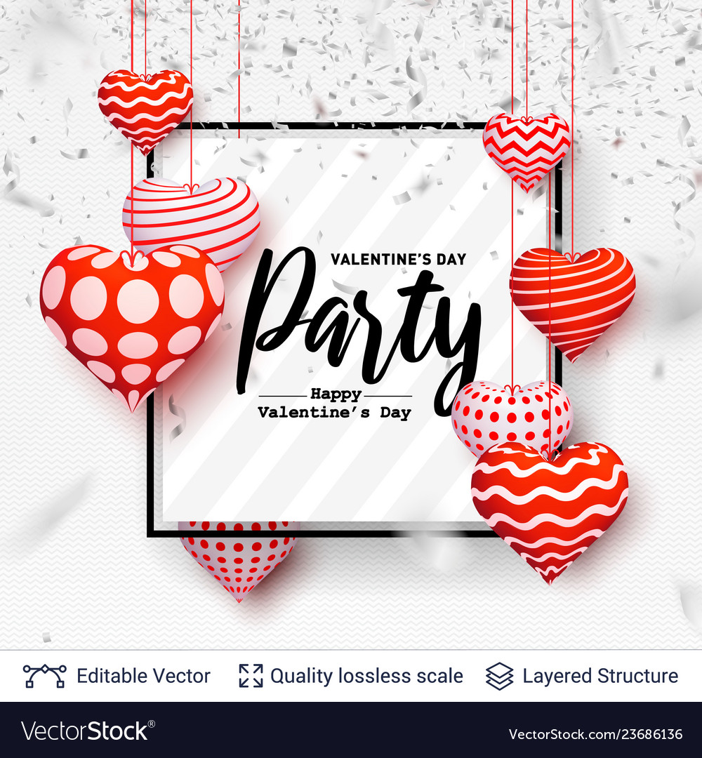 Party text in a frame and 3d hearts on white