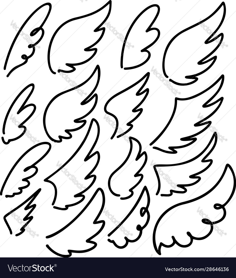 Set hand drawn doodle wings design elements