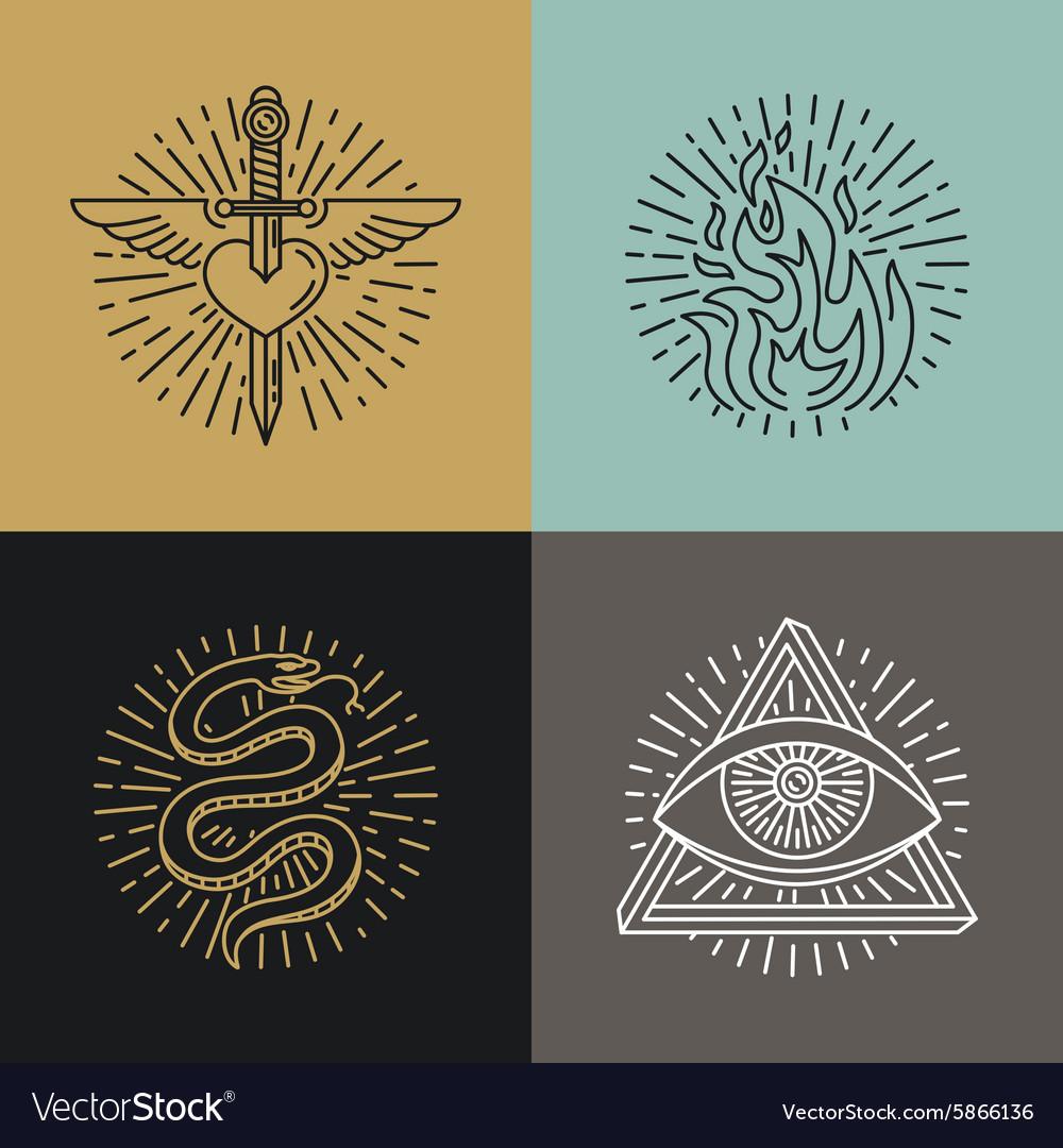 Set tattoo styled icons