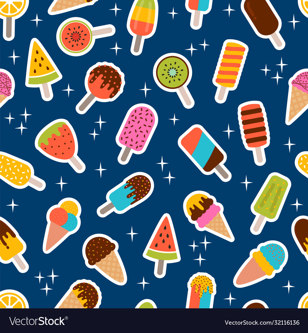 Tasty colorful ice cream seamless pattern sweet