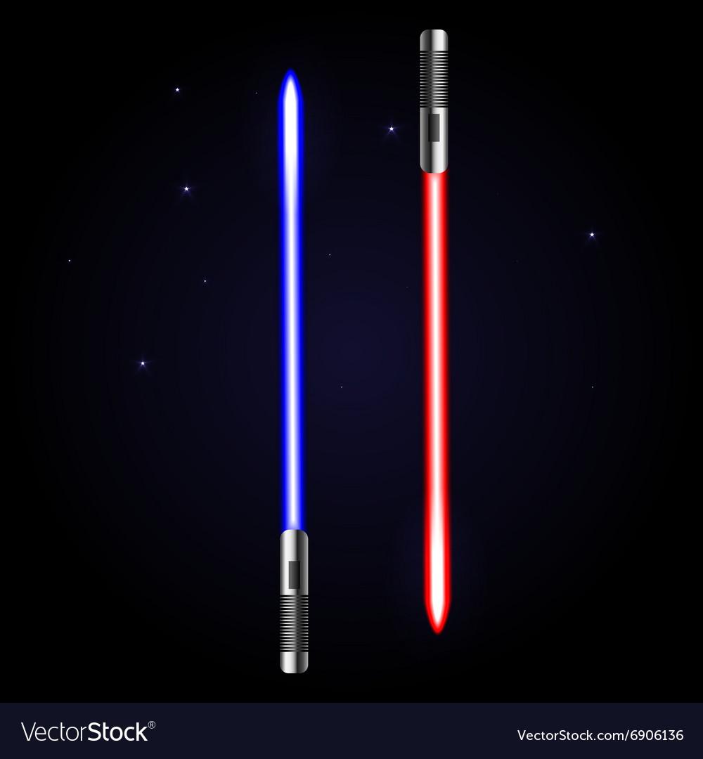 Two glowing swords on cosmic dark blue background