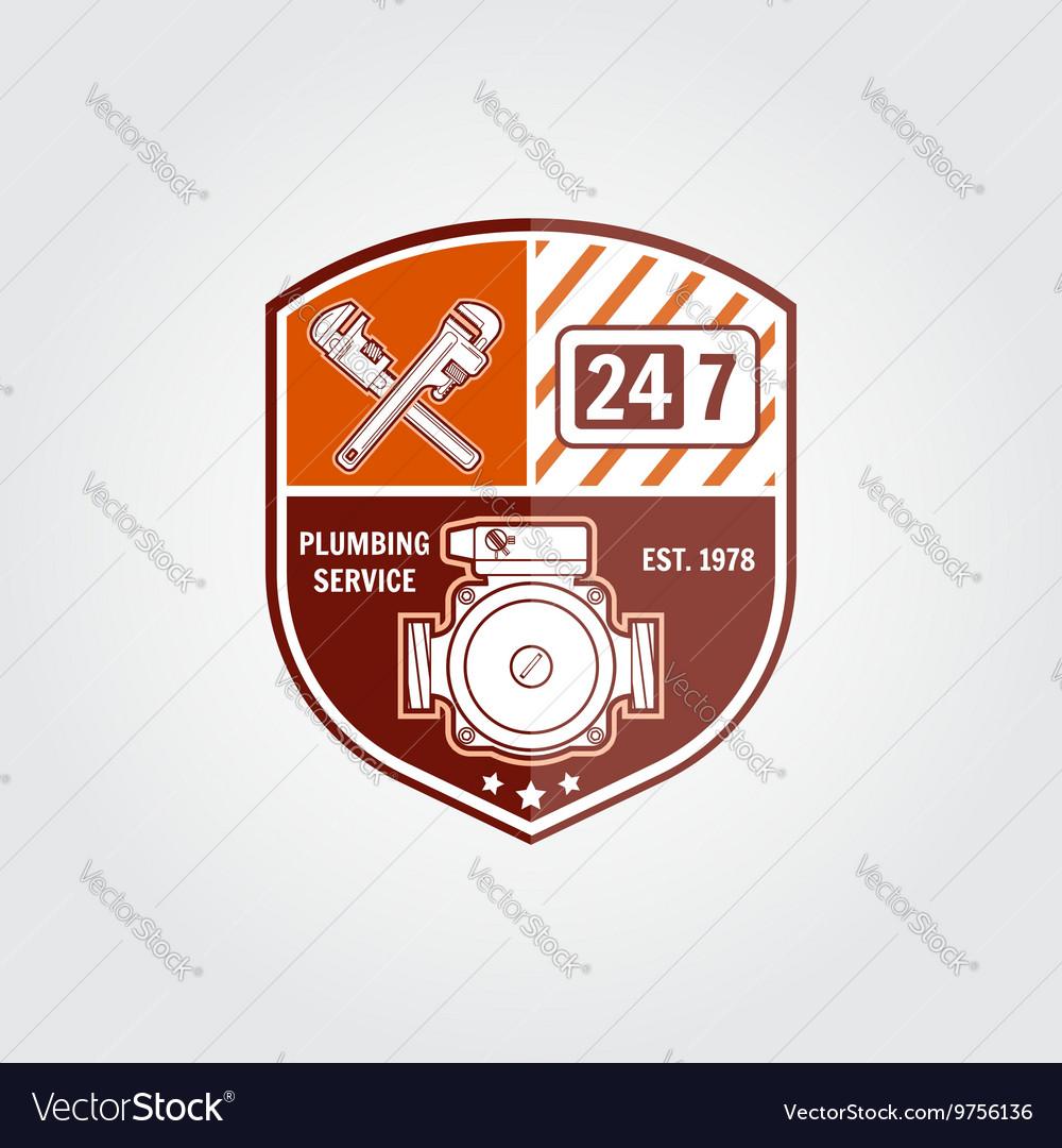 Vintage plumbing service badge banner or logo vector image