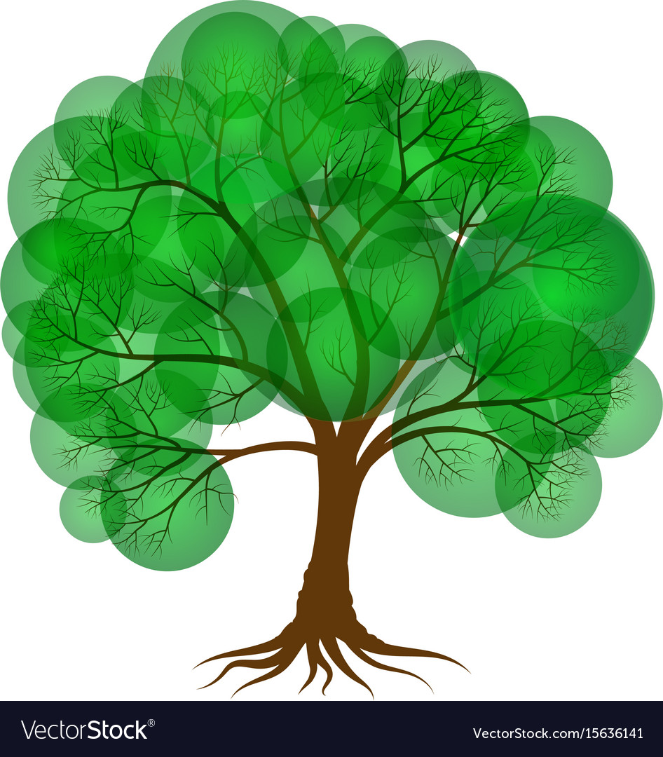 Abstract tree covered with green foliage in the