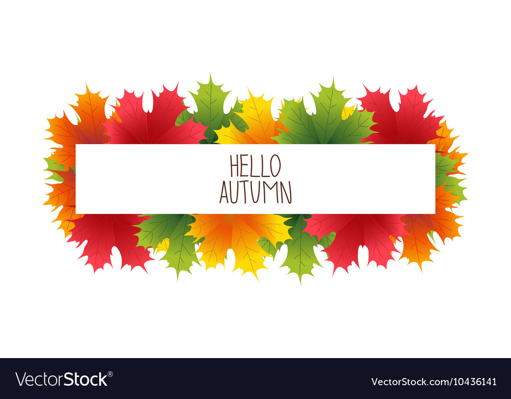 Banner advertising and autumn colored leaves