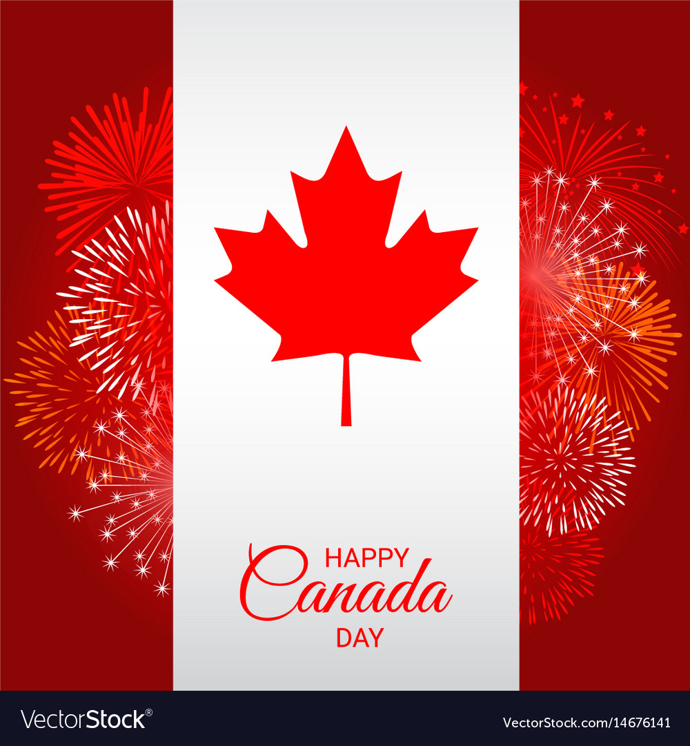 Canada flag with fireworks for national day of