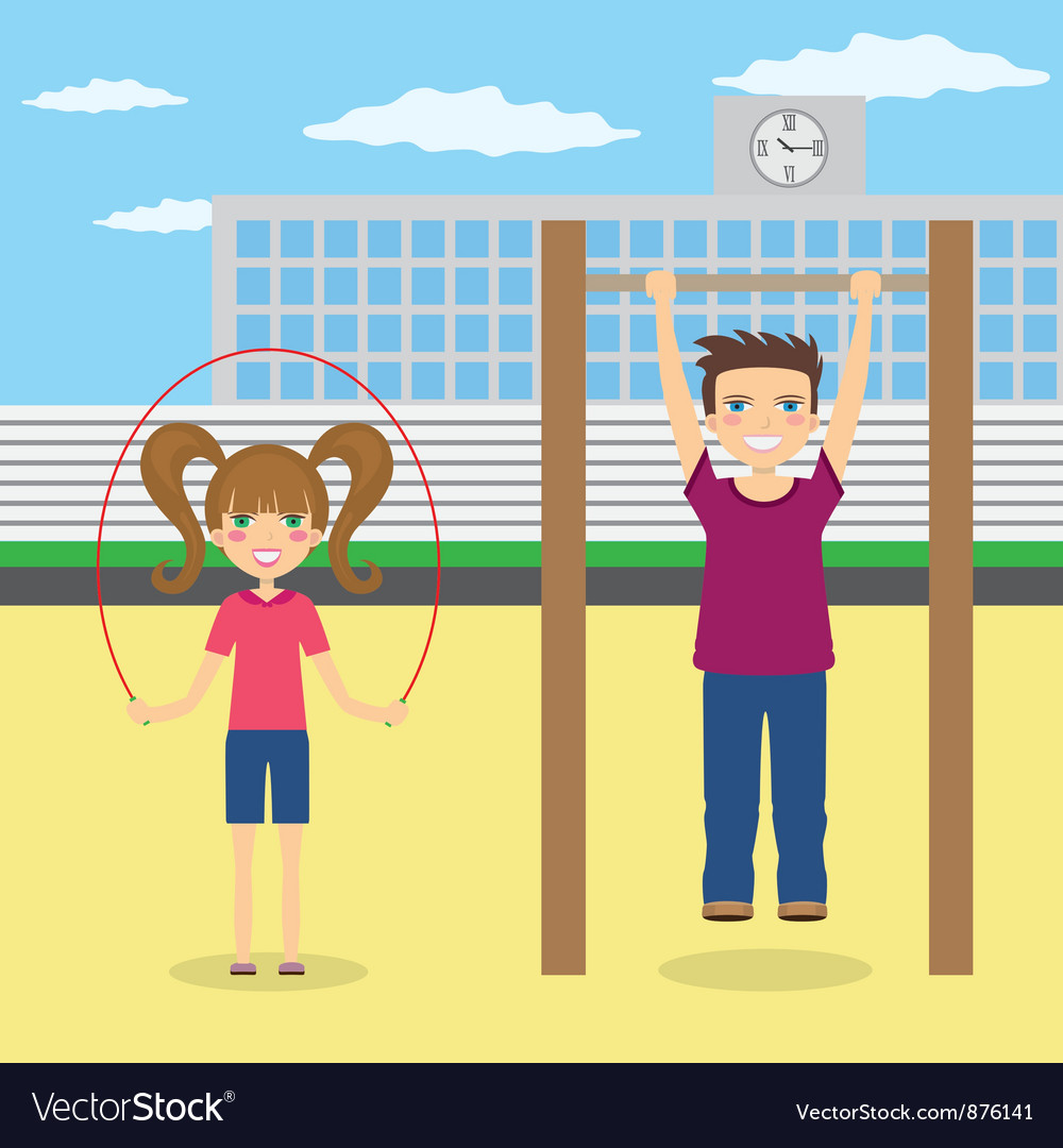 Children near school vector image